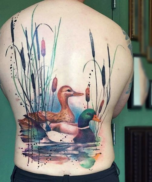 Pretty Ducks Watercolor Tattoo On Full Back For Men