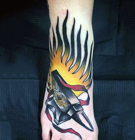 Pretty Flaming Tattoo On Foot For Male