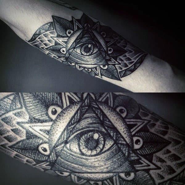 Pretty Grey Illuminati Tattoo Male Forearms