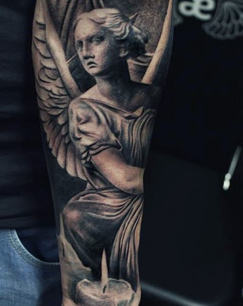 Pretty Guardian Angel Candle Flame Tattoo Mens Sleeves