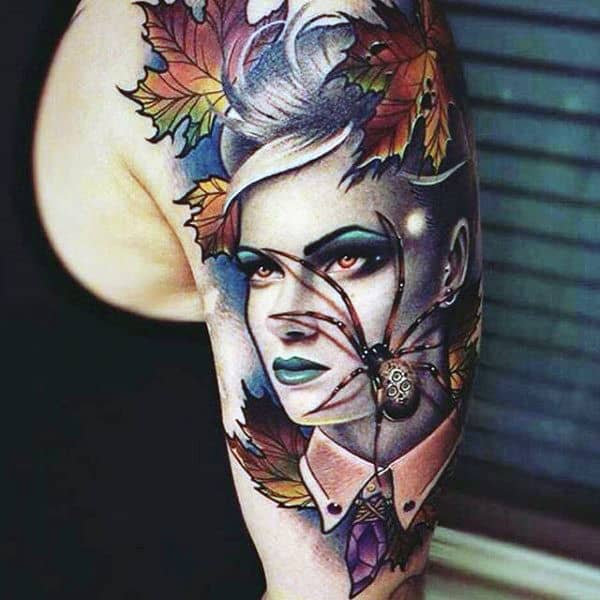 Pretty Lady And Spider Tattoo On Arms For Men