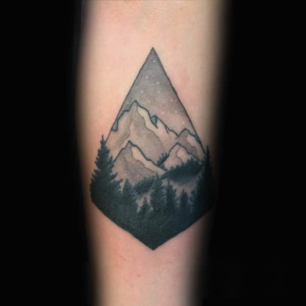Pretty Mountain Snowboard Tattoo Male Forearms