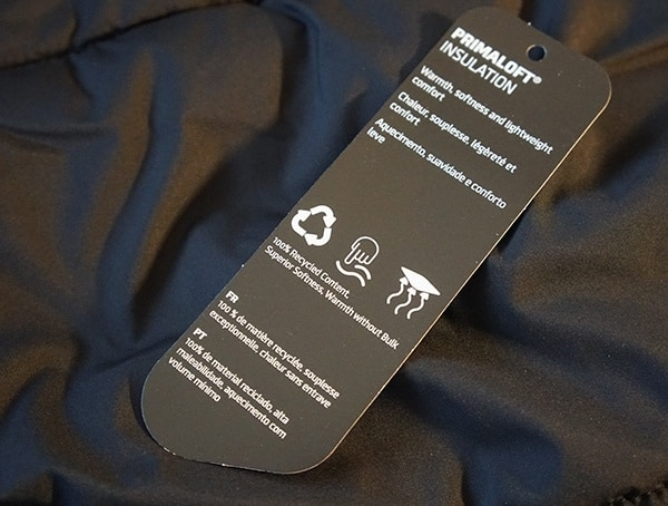 Primaloft Insualation Tag Features