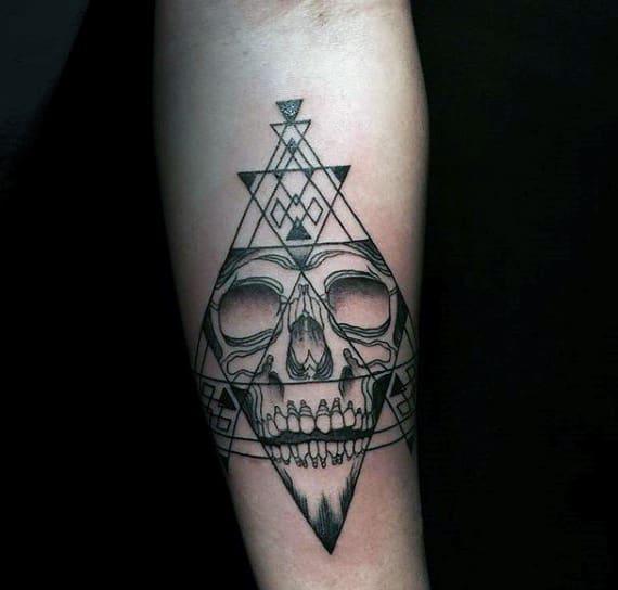Primitive Traingular Design Tattoo On Arms For Men