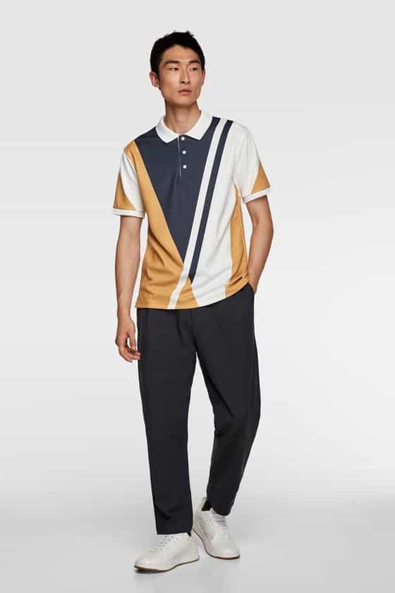 printed striped polo shirt