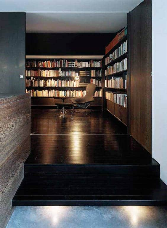 Private Home Library Reading Room With Black Hardwood Floors