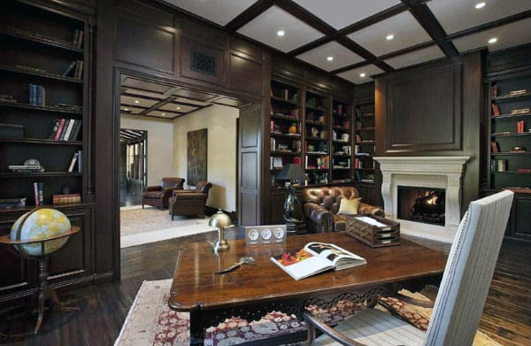 Private Home Library Traditional Home Office With Stone Fireplace Room