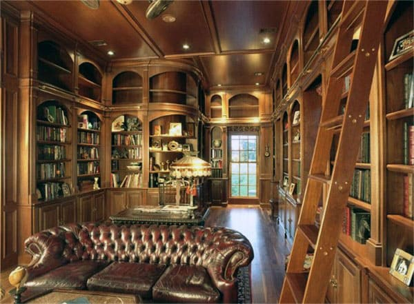 Private Traditional Man Cave Home Library