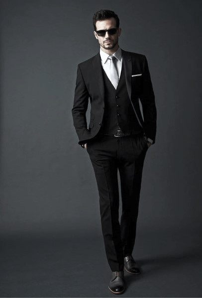 Professional Business Mens Black Suit Style