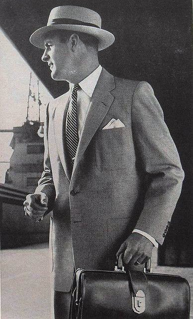 Professional Businessman With Breifcase And Hat Mens 1950s Fashion Ideas
