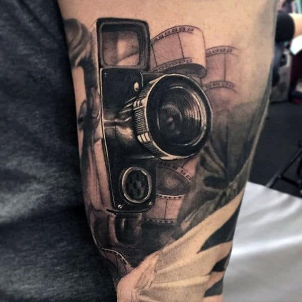 Professional Camera Tattoo Male Upper Arm