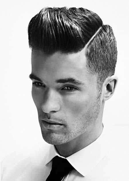 Professional Classy Guys Quiff Haircut With Hard Part Side