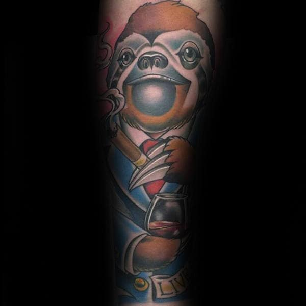 Professional Sloth Businessman With Cigar And Wine Glass Mens Sleeve Tattoo