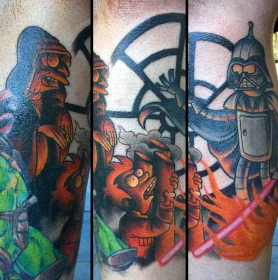 Professor Farnsworth Mens Futurama Themed Leg Tattoos