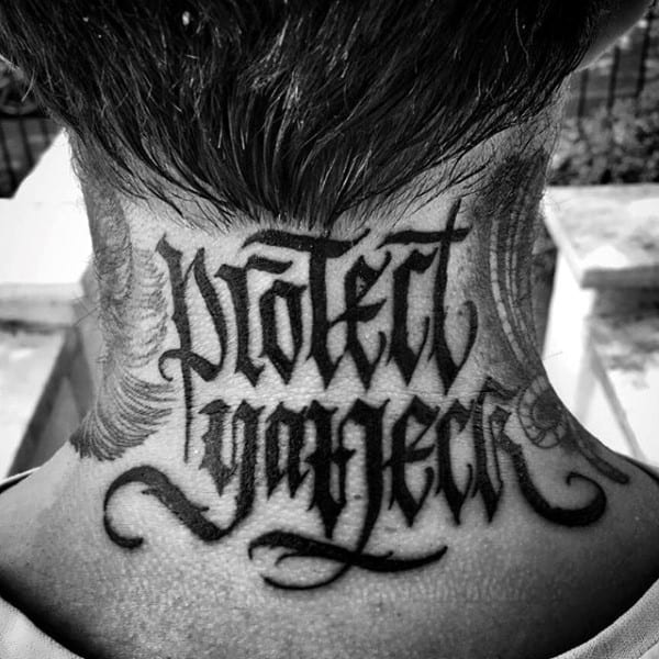 Protect Your Neck Wu Tang Mens Lettering Tattoo Designs