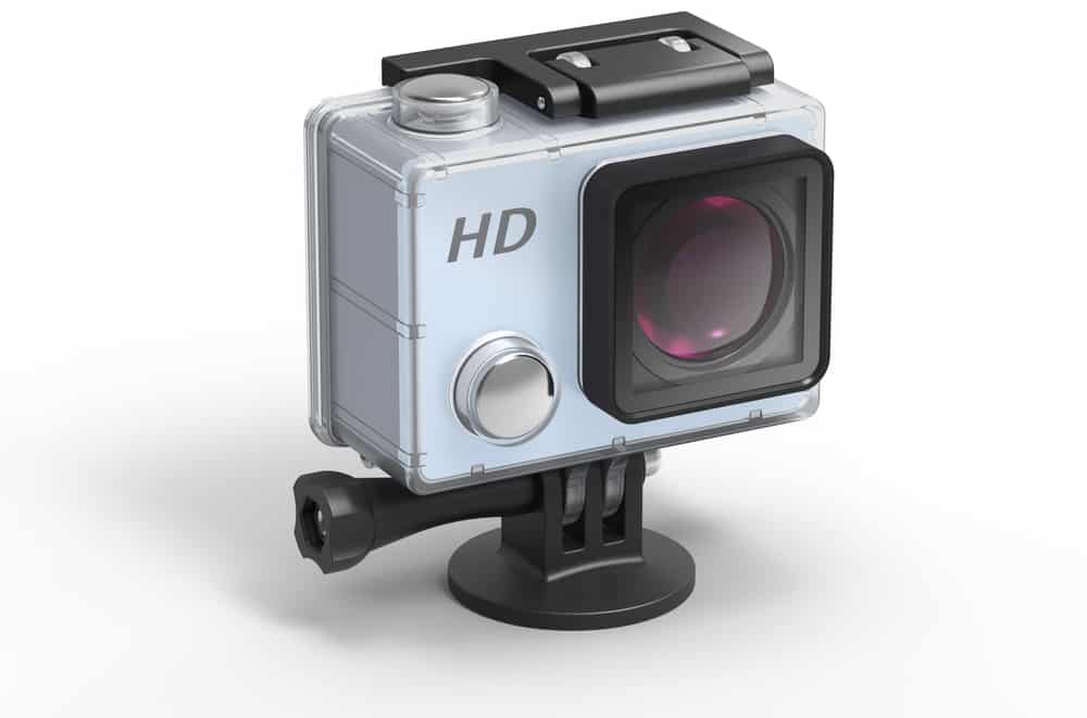 hd action camera in protective waterproof box