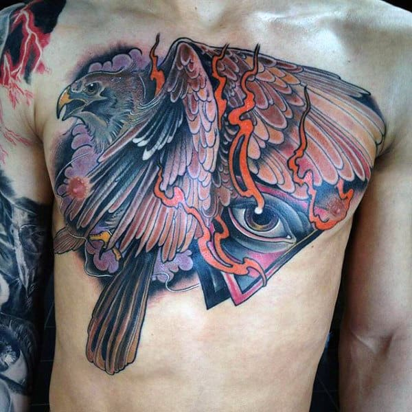 Psychedelic Hawk And Seeing Eye Chest Tattoo On Male
