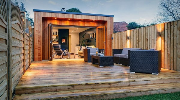 Pub Shed With Wood Deck Lounge Area