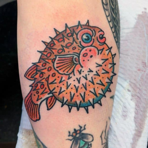 Puffer Fish Themed Tattoo Ideas For Men