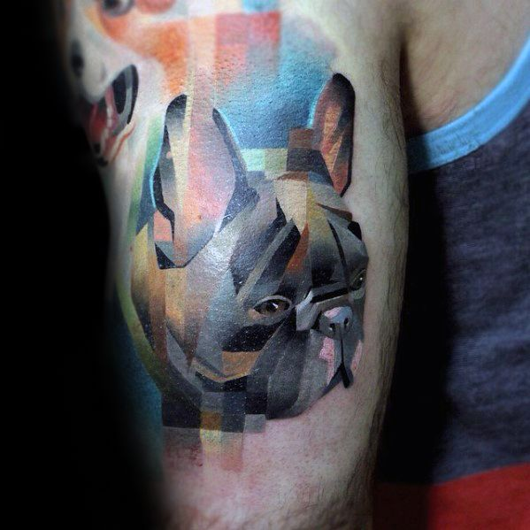 Pug Dog Back Of Arm Mens Tattoo Pixel Design