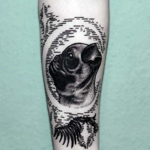 Pug Dog Woodcut Mens Tattoo On Forearm