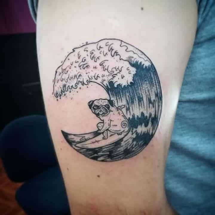 Pug Love Wave Black Work Tattoo
