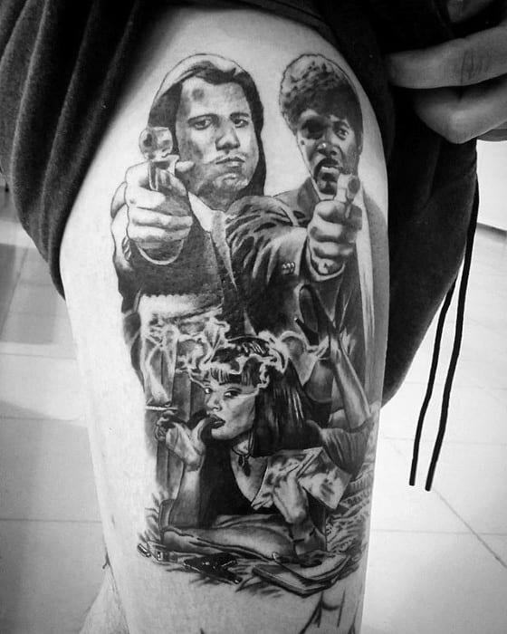 Pulp Fiction Male Thigh Themed Tattoo Designs