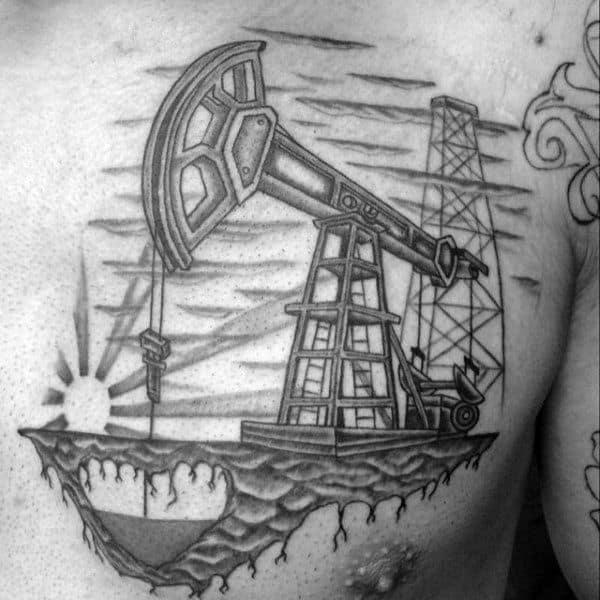 Pumpjack Guys Heart Oilfield Upper Chest Tattoo