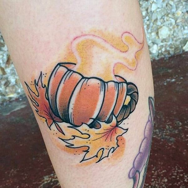 Pumpkin Cup With Fall Leaves Male Leg Tattoo