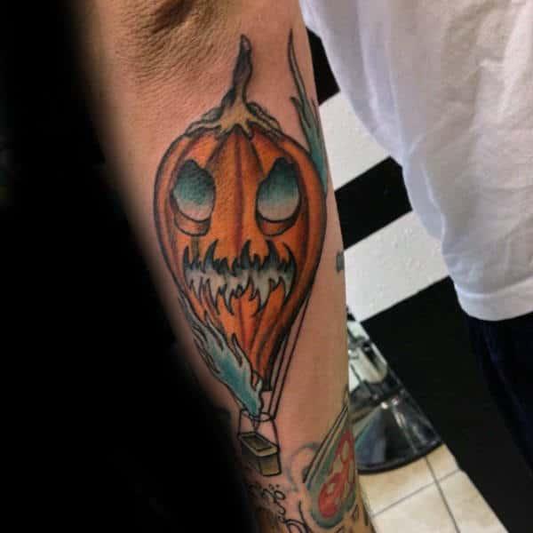Pumpkin Hot Air Balloon Mens Forearm Tattoo
