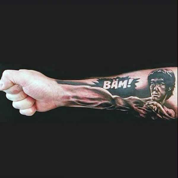 Punching Hand Optical Illusion Forearm Tattoo