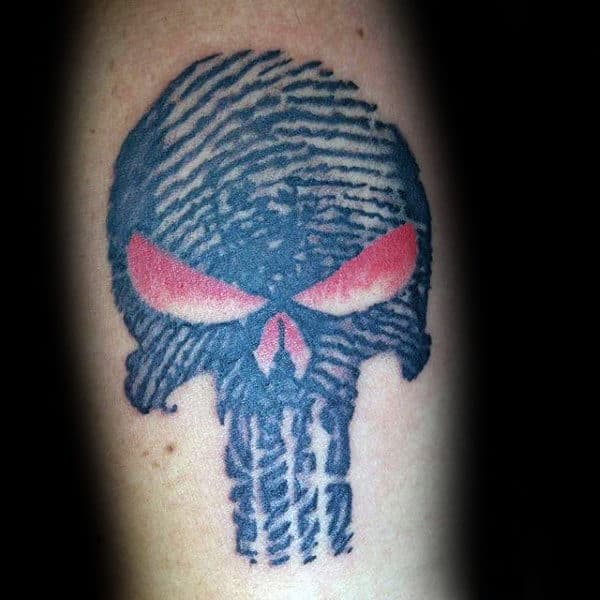 Punisher Fingerprint Mens Arm Tattoos