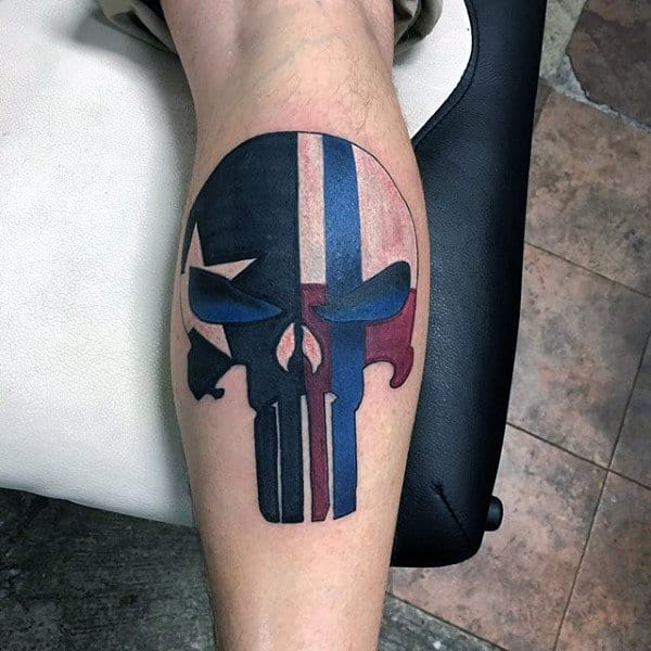 Punisher Skull With Texas Flag Theme Mens Leg Calf Tattoos