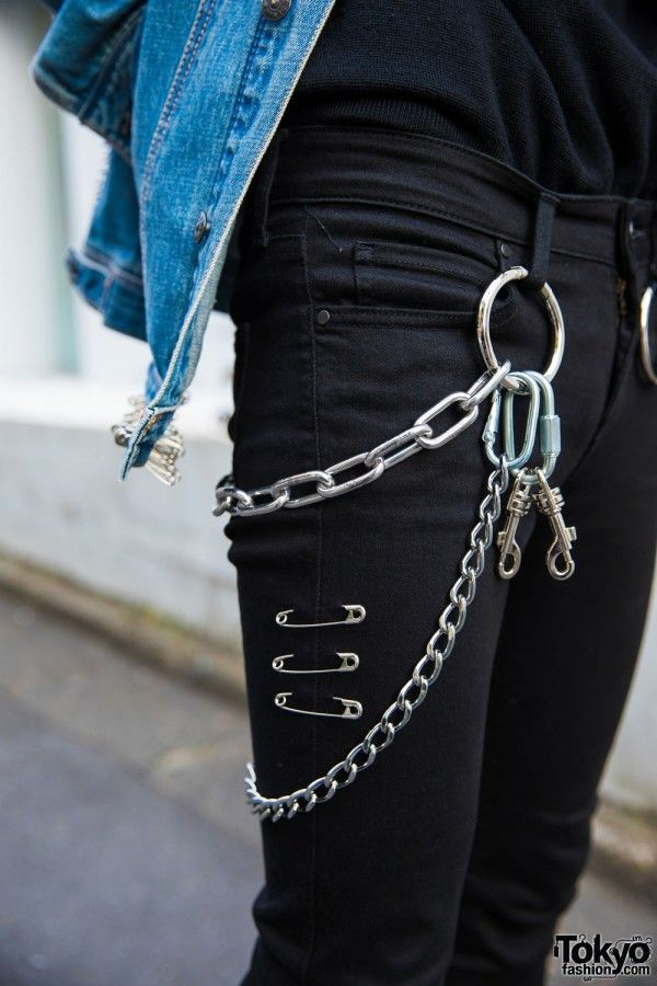 Black jeans with chains on the side