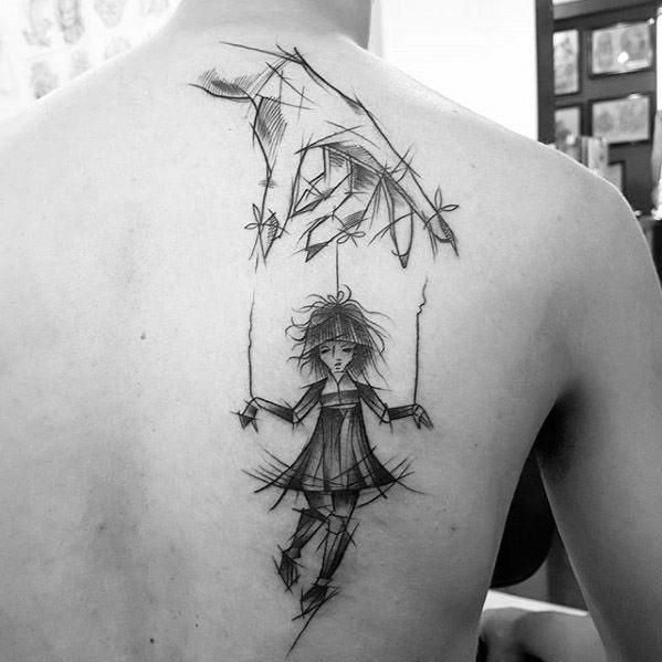 Puppet Tattoo Design On Man