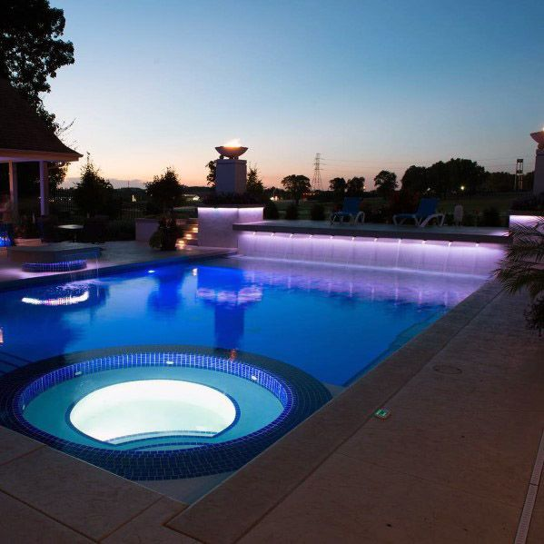 Purple And Blue Leds Home Backyard Designs Pool Lighting