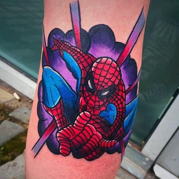 Purple Bright Spiderman Tattoo Male Forearms