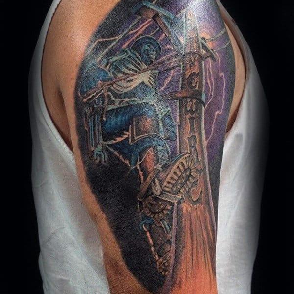 Purple Electrical Lineman Mens Half Sleeve Tattoos