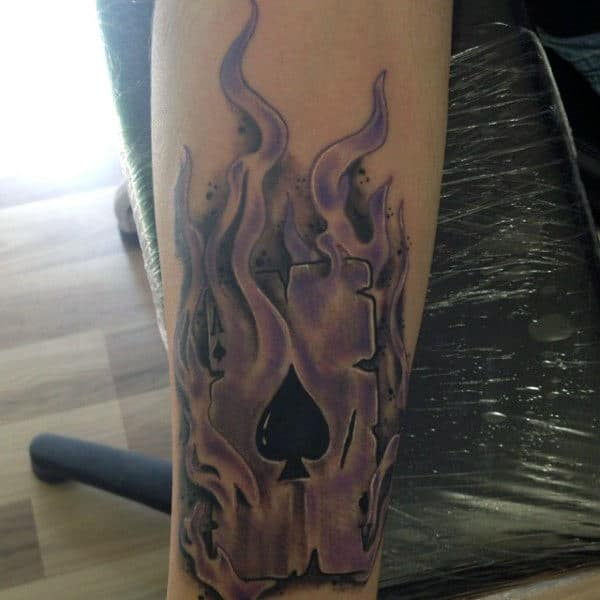 Purple Flames On Ace Of Cards Tattoo Mens Forearms