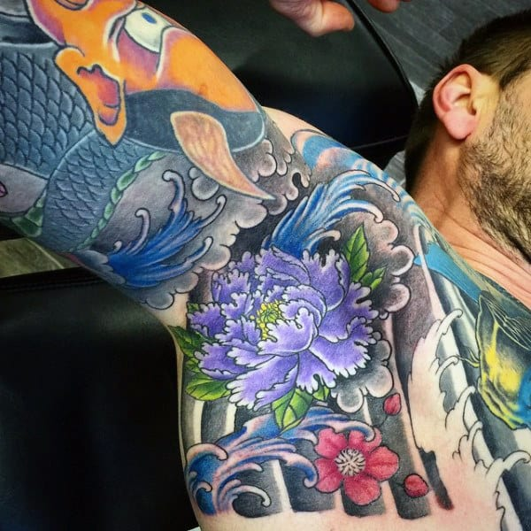 Purple Flower With Green Leaves Tattoo Male Armpit