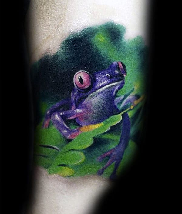 Purple Frog Mens Realistic Arm Tattoos