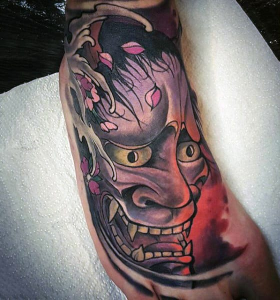Purple Monster Face Tattoo On Foot For Males