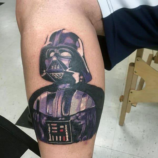 Purple Tinged Darth Vader Tattoo Male Legs