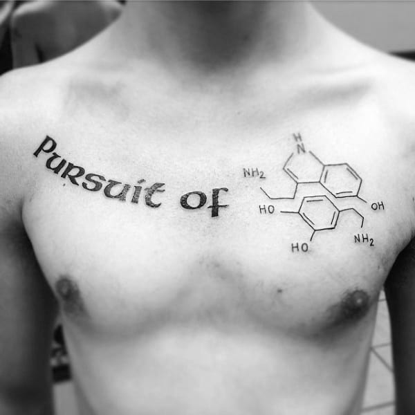 Pursuit Of Chemistry Compound Mens Chest Tattoos