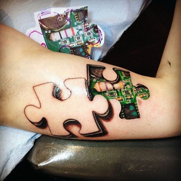 Puzzle Piece Circuit Board Mens 3d Arm Tattoo