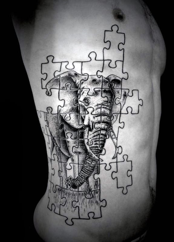 Puzzle Piece Elephant Creative Mens Ribs Tattoo