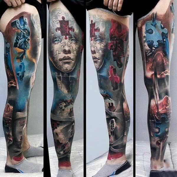 Puzzle Piece Male Tattoo Sleeve On Legs