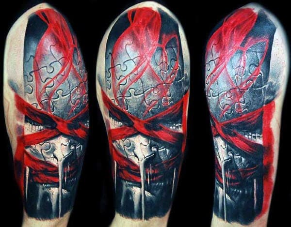 Puzzle Pieces Portrait Red Ink Half Sleeve Tattoo On Gentleman