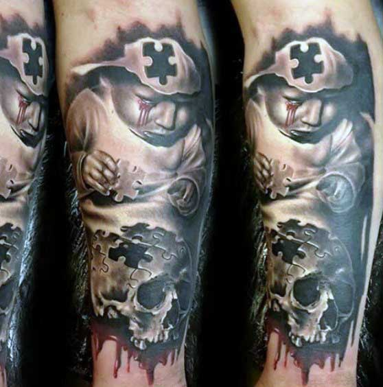 Puzzle Pieces Tattoo For Men Of Skull