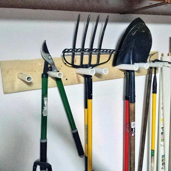 Pvc Pipe With Wood Wall Bracket Yard Tool Storage Ideas